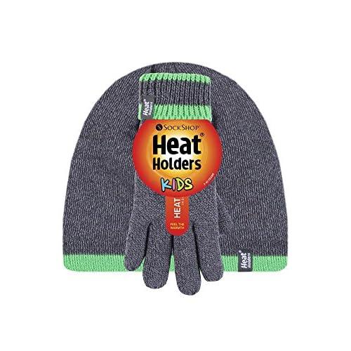 16d6a25689c Buena Heat Holders - Niño Chico Invierno Casual Colores Térmico Caliente  Beanie Gorro de Punto y