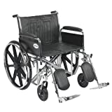 Drive Medical Sentra EC Heavy Duty Wheelchair with Various Arm Styles and Front Rigging Options, Black, Bariatric 24''