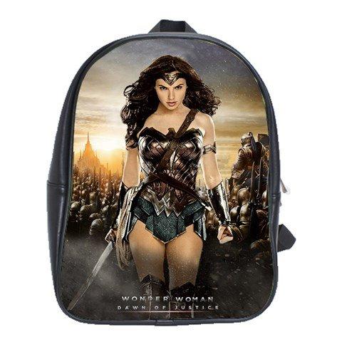 Wonder Woman Gal Gadot Dawn Of Justice Comic Movie Leather Notebook Laptop Bag School Backpack Rucksack - Justice Rucksack