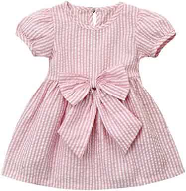 1a5319f853 Kehen Infant Baby Girls Party Princess Clothes Short Sleeve Stripes Dress  With Bows
