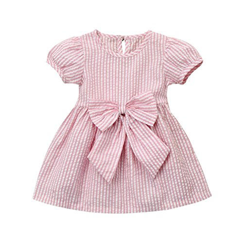 Baby Bubbles Yarn - Kehen Infant Baby Girls Party Princess Clothes Short Sleeve Stripes Dress with Bows (Pink, 6-12 Months)