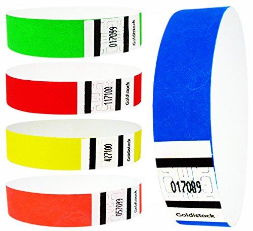 Goldistock 3/4 Tyvek Wristbands Rainbow 500 Ct. Variety Pack- 100 Each: Neon Blue, Green, Yellow, Orange, Red