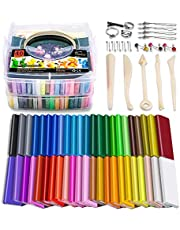 Polymer Clay, 46 Blocks Colored Modeling Clay DIY Soft Craft Clay Set with Sculpting Tools and Accessories in Storage Box, Best Kids (46 Blocks, Weight 3lb)