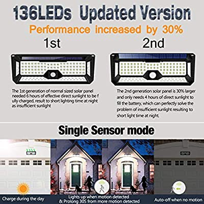 Big Solar Panel Motion Sensor Lights Outdoor,4 Sides 270°Wide Angle 136 New Upgrade Large Size Led Solar Lights Outdoor Motion Sensor Waterproof Wall Wireless Security Night Light Easy-to-Install