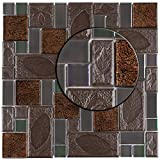 "SomerTile GDXGVSWN Eden Versailles Walnut Glass and Stone Mosaic Wall Tile, 11.75"" x 11.75"", Grey/Copper/Iridescent"