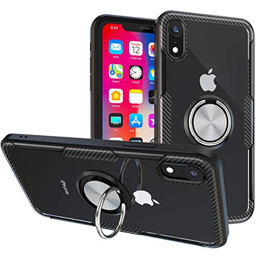 iPhone XR Case   Transparent Crystal Clear Cover   Carbon Fiber Trim & Rubber Bumper   360° Rotating Magnetic Finger Ring   Kickstand   Compatible with Apple iPhone XR - Black
