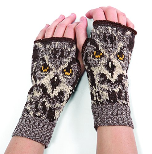 Owl Gloves (Green 3 Women's Owl Handwarmers)