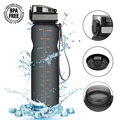 Trinkflasche,CAMTOA Wasserflasche aus Tritan 1000ml Auslaufsicher, Water Bottle Eco Friendly & BPA-freiem Kunststoff Wasser Flasche, Fahrradflasche, Sporttrinkflasche Ideale Sportflasche für das Laufe Grau