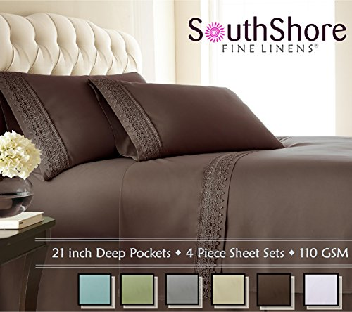 Southshore Fine Linens 4-Piece 21 Inch Deep Pocket Sheet Set with Beautiful Lace - Chocolate Brown - King