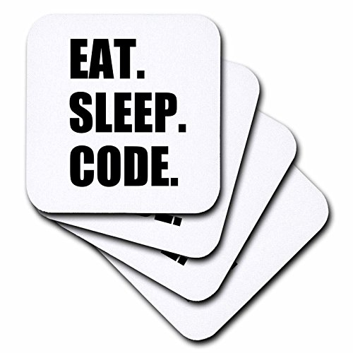 3dRose cst_180391_1 Eat Sleep Code-Computer Coder. Programmer. Love to Program. Coding-Soft Coasters, Set of 4 (4 Programmers)