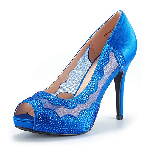 DREAM PAIRS Women's Divine-01 Royal Blue High Heel Pump Shoes Size 8.5 M US (Heel Casual High Sexy Shoe)