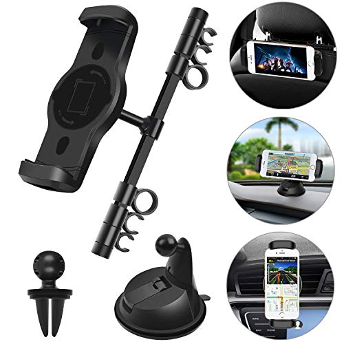 Car Phone Holder, iPad Headrest Mount Phone Mount for Car Dashboard Air Vent Windshield Universal Fit for iPhone Samsung Smartphone Tablets with 4.7-11 Screens