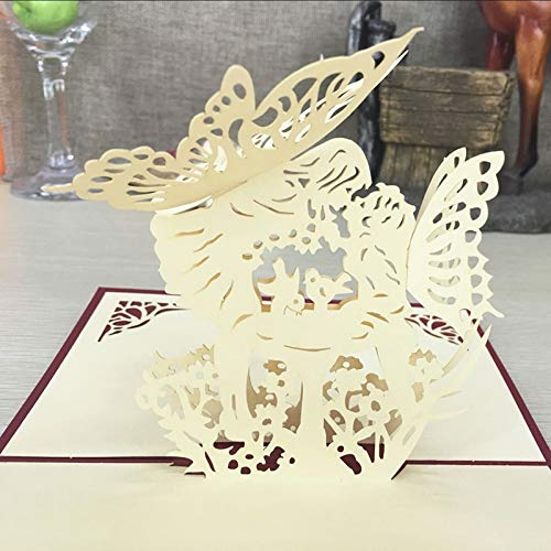 Best Quality - Cards & Invitations - 1pcs Angel Kiss Laser Cut Paper Greeting 3D Pop Up Kirigami Card Wedding Invitation Birthday Valentine's Day Postcards Gifts - by SeedWorld - 1 PCs ()