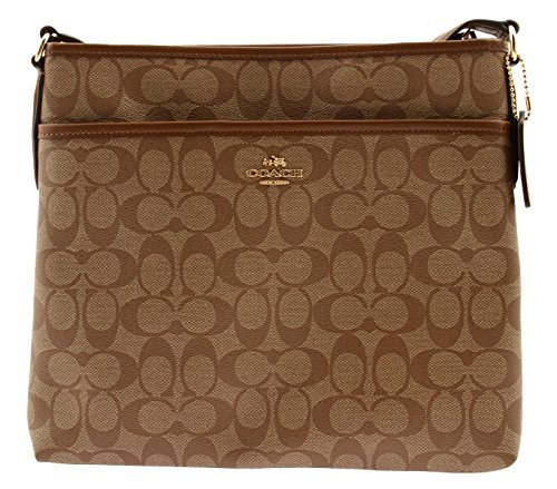 COACH Signature Coated Canvas File Bag Crossbody, F58297 (Khaki / Saddle)