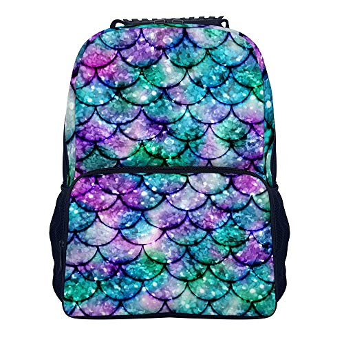 (Mermaid Tail Scales Shoulders Backpack Fashion Two Mesh Side Pockets School Backpack For Adults And Children)
