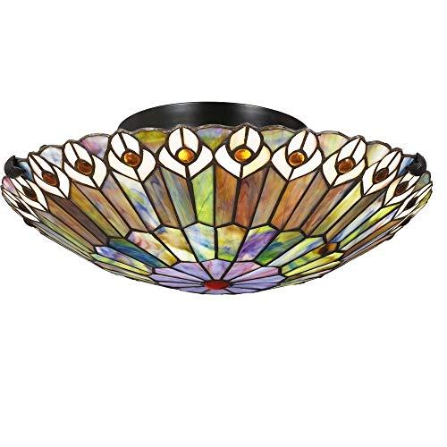 - Quoizel TF1716VB Watkins Tiffany Flush Mount Ceiling Lighting, 2-Light, 150 Watts, Vintage Bronze (5