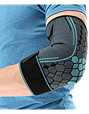 Elbow brace for tendonitis, 2 pcs Best Compression Elbow Support Sleeve with Adjustable Strap Arm Sleeve for Pain Relief, Tendonitis, & Arthritis for Weightlifting Running Basketball Golf Volleyball Men Women - Blue