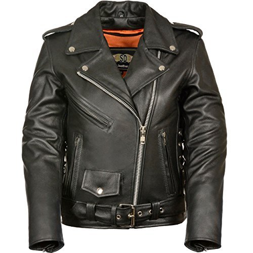 Jacket Ladies Motorcycle Black (LC2701 Ladies Black Basic Classic Motorcycle Premium Leather Jacket with plain sides,Medium)