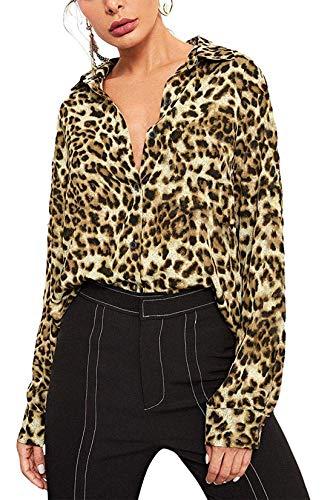 Tsher Women's Long Sleeve Shirt Loose Casual Professional Button Blouse for Women x5005 (XXL, Leopard)
