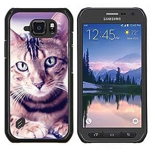 LECELL--Funda protectora / Cubierta / Piel For Samsung Galaxy S6Active Active G890A -- Retrato del gato egipcio de Mau Manx Ocicat --