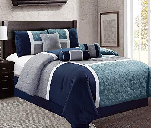 Luxlen 7 Piece Luxury Bed in Bag Comforter Set, Closeout, Queen, Navy, ()