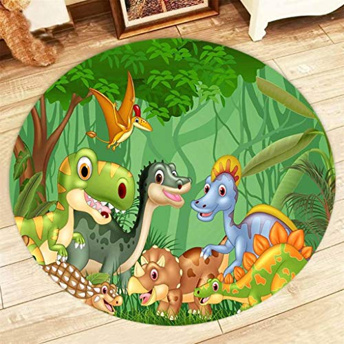 Cartoon Animals Round Carpets Dinosaur Rugs Baby Kids Children's Room Rugs Living Room Bedroom Non-Slip Floor Door Mats, Diameter 1.96ft