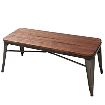 Modern Industrial Metal Dining Bench With Wooden Seat For Indoor/Outdoor  Patio Garden Bench For