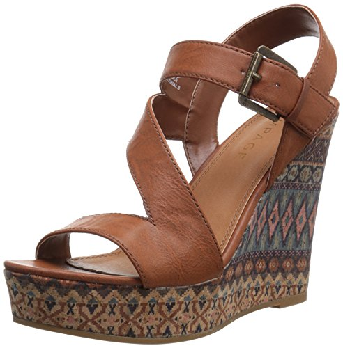 Rampage Women's Heidi Platform Ankle Strap Open Back Wedge Sandal, Cognac, 8.5 M US (Platform Wedge Brown)