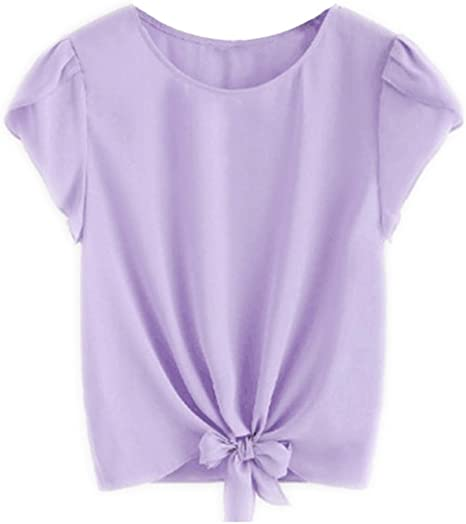 para Mujer O-Cuello Corbata Gasa Camisas de Manga de Color sólido ...