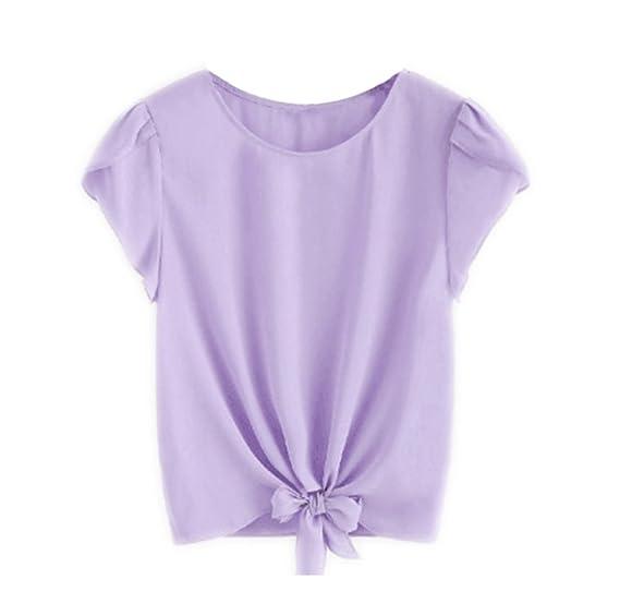 Para mujer O-cuello Corbata Gasa Camisas de manga de color sólido Damas Oversized de