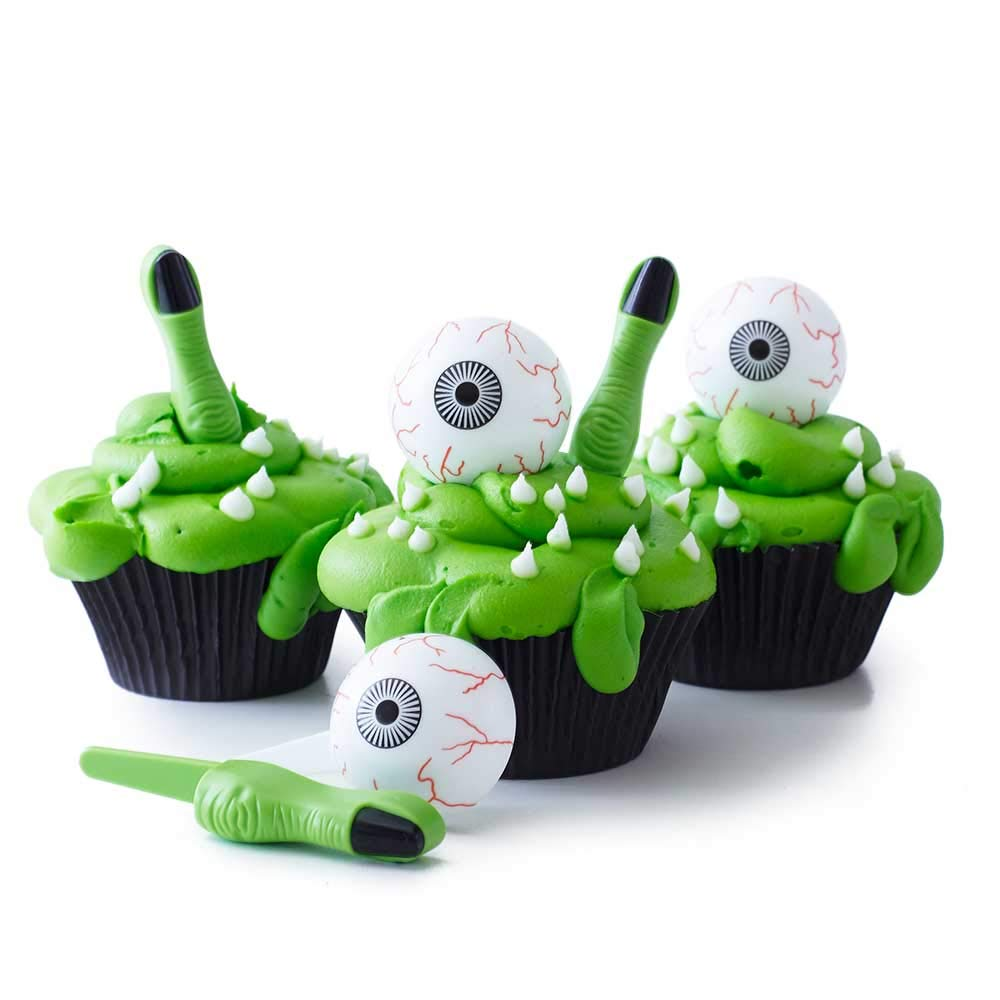 (24) Halloween Cupcake Kit - Bloodshot Eyeball Rings - Green Witch Finger Toppers - Black Grease Proof Baking Cups