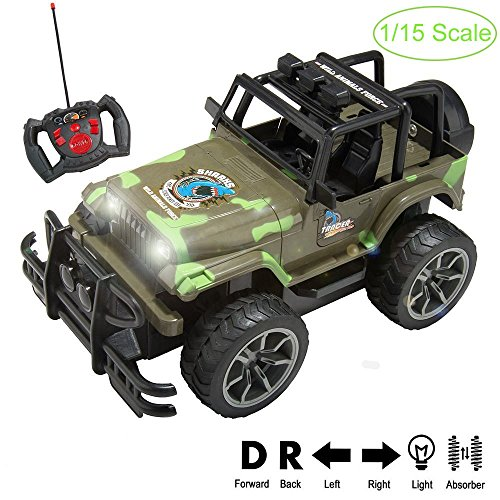 1:15 Scale Super Duty Radio Remote Control Battery Operated Jeep Vehicle Powerful Off Road Cross Country Toy SUV Car with Lights and Sounds, Great Gift for Kids ( Army Green ) - Cross Country Vehicle