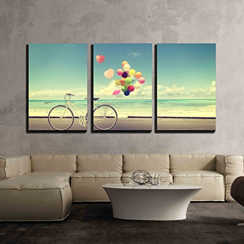 Bicycle with Balloons on Beach Wall Decor x3 Panels