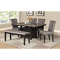 Best Quality Furniture D110Set6PC Dining Set, Light Espresso
