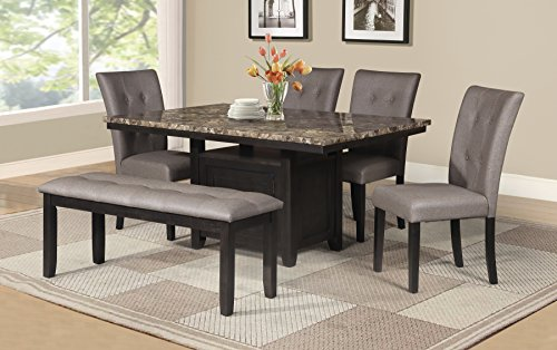 Best Quality Furniture D110Set6PC Dining Set, Light Espresso (Dining Room Leather Cabinet)