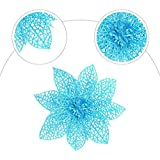 Worldoor Pack of 10 Glitter Blue Poinsettia