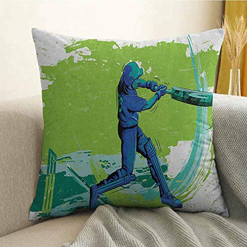 (Sports Bedding Soft Pillowcase Cricket Player Pitching Win Game Champion Team Paintbrush Effect Hypoallergenic Pillowcase W20 x L20 Inch Navy Blue Turquoise Lime Green)