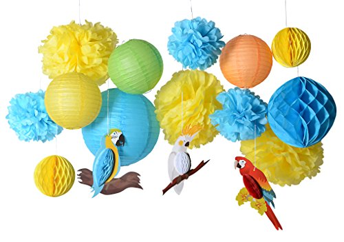 PAPER JAZZ 16pcs Parrot tropical birds Honeycomb Paper Pom Poms Lanterns for Wedding Birthday Summer Beach Seaside Hawaiian luan tiki Party Decorations Yellow Blue Green Color (parrot kit) - Jungle Blue Paper