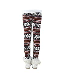 Jlong Kids Girls Winter Warm Stretchy Fleece Snowflake Pants Tight Leggings 1-9Y