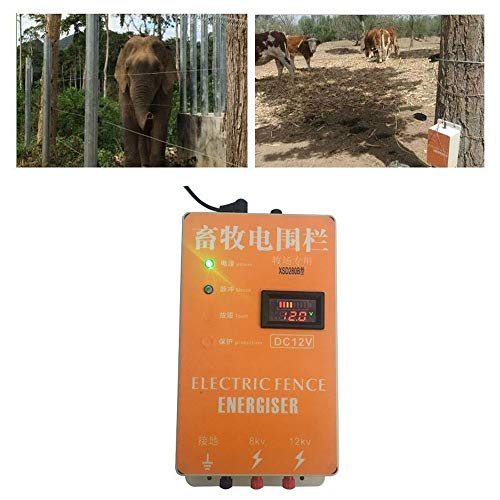 Pengxuehuang 20KM Electric Fence Energizer Charger Waterproof Anti-dust Animals Electric Fencing Controller with Voltage Display for Farm