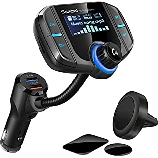 Sumind Wireless Radio Adapter, Car Bluetooth Fm Transmitter, Bluetooth Car Transmitter 1.7 Inch Display, QC3.0/2.4A Dual USB Ports, AUX Output, Mp3 Player with Magnetic Mount and Plate