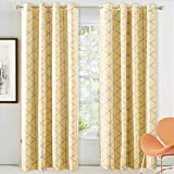Cheap DriftAway Raymond Geometric Triangle Trellis Pattern Lined Thermal Insulated Blackout/Room Darkening Grommet Energy Saving Window Curtains, 2 Layer, Set of Two Panels, Each 52″X84″ (Gray and Yellow)