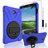 """Gzerma Galaxy Tab A 10.1 with S Pen Case + Stylus Pen, Hybrid Rugged [Impact Resistant] Full Body Protective Rotating Cover with Kickstand Holder and Hand Grip Strap, Shock Proof Clear Screen Protector for Samsung Galaxy Tab A 10.1"""" Tablet, Blue"""