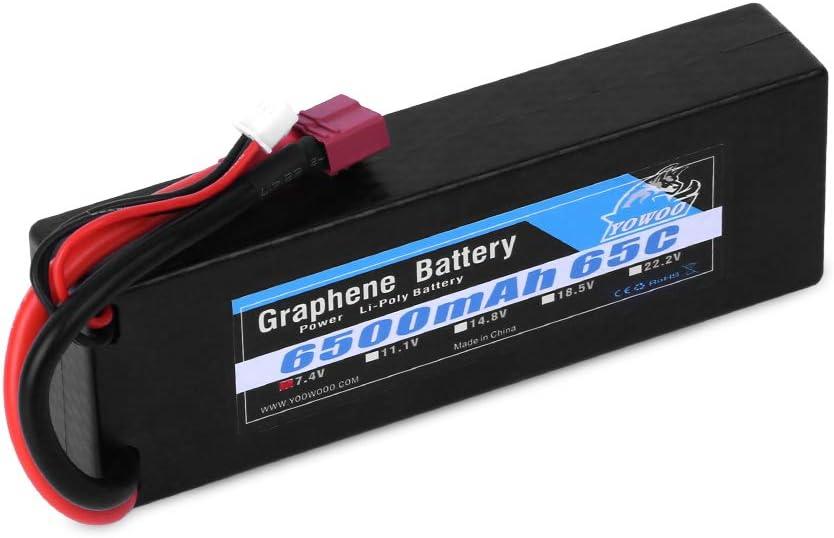 YOWOO 2S Batería de grafeno 7.4V 65C 6500mAh Baterías RC Lipo Estuche rígido con conector Dean-Style T para Coche RC Avión o Barco