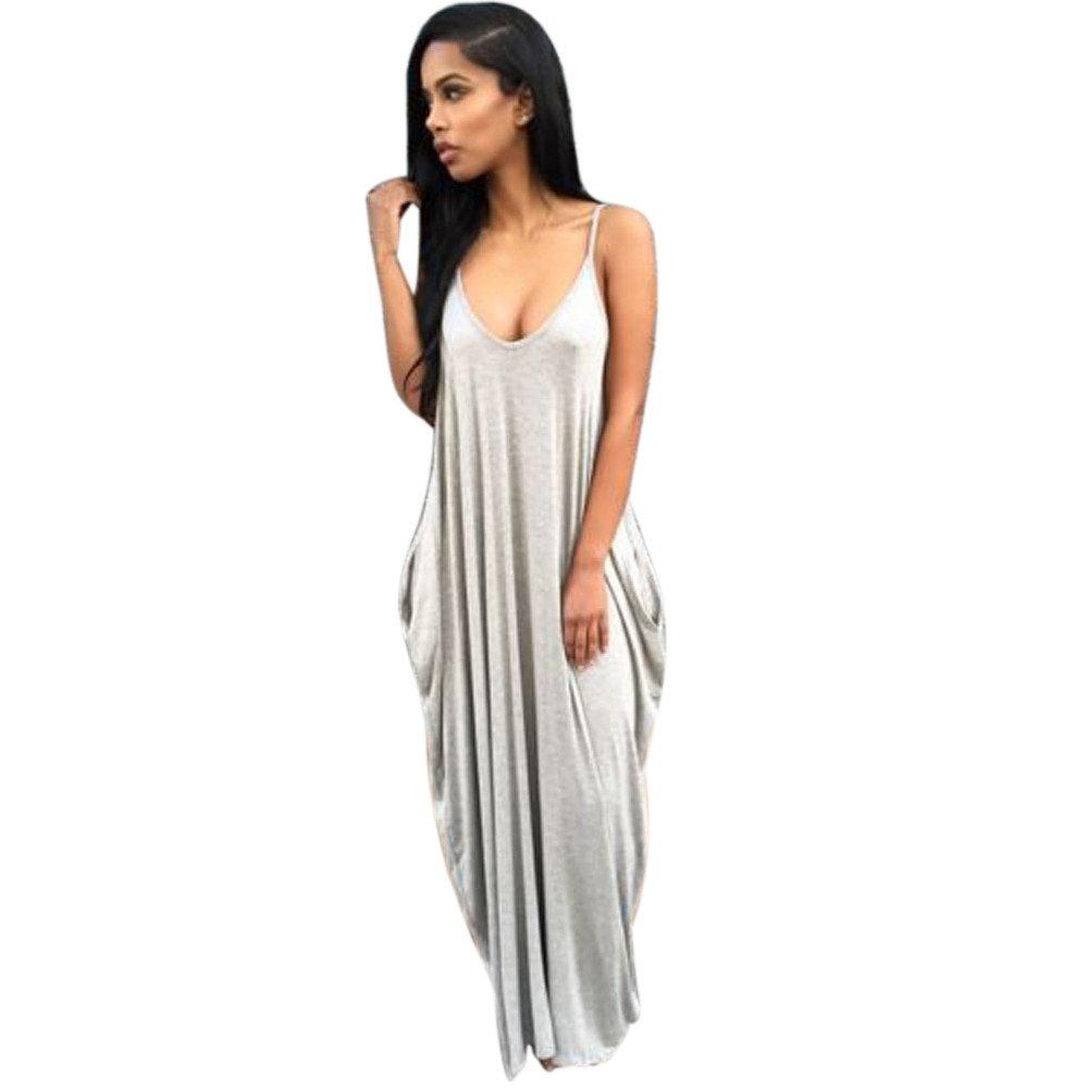JESPER Irregular Sexy Gallus Women Summer Boho Long Maxi Evening Party Dress Beach Dresses Grey