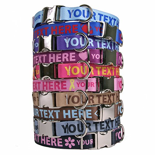 (Personalized Premium Dog Collar with Metal Clasp - Available 20 Colors + Multiple Sizes)
