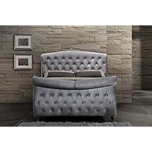 Meridian Furniture Hudson-Sleigh Hudson Collection Grey Velvet Upholstered Sleigh Bed with Crystal Button Tufting, and Custom Solid Wood Legs