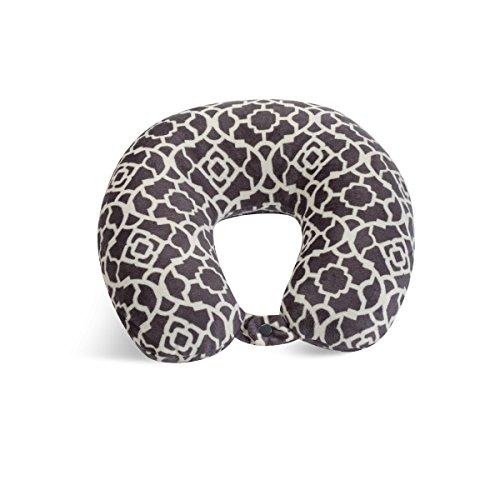 Worlds Best 2360 CH Feather Soft Microfiber Neck Pillow, Charcoal Trellis