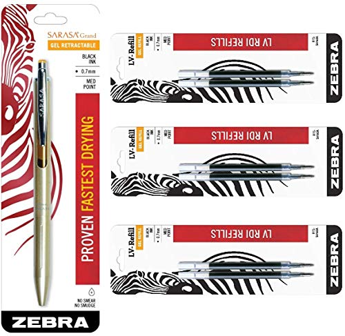 Zebra Sarasa Grand, Retractable Gel Ink Pen, Gold Barrel, Medium Point, 0.7mm, Black Ink, 1-Count Bundle with 6 Refills