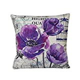 Decorative Pillow Cover - Vovomay Home Purple Flower Style Home Decorative Flax Throw Pillow Cover Cushion Case Square Pillowslip For Home Decor 18 X 18'' (Flower-A)
